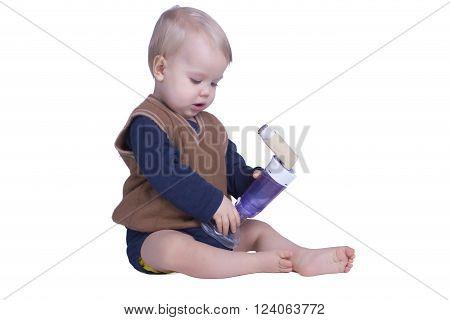 One year old boy with an asthma inhalator