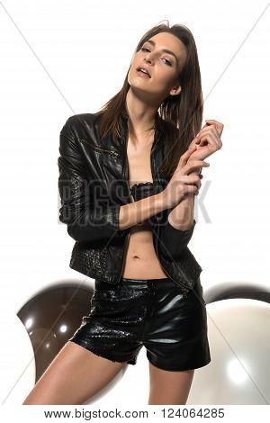 Auburn Hair And Black Leather