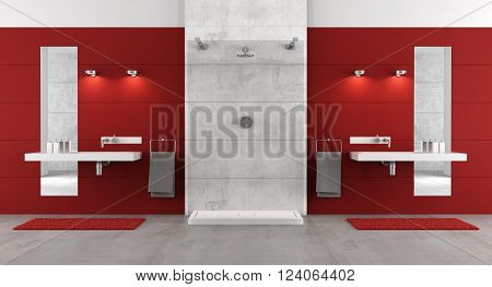Red contemporary bathroom with shower and double washbasin - 3d rendering