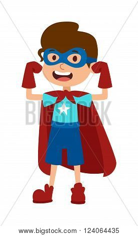 Super hero little boy in mask, cute super hero boy vector. Illustration of super boy cartoon character vector. Young school kid super hero costume, power kids