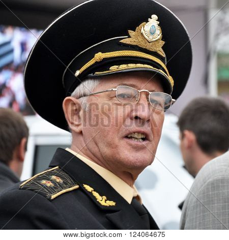 CHORTKIV - TERNOPIL - UKRAINE - October 20 2014.Boris Rozhin - the first commander of the Naval Forces of Ukraine Vice-Admiral deputy of Ukraine of the 2nd and 3rd convocations Ukrainian social and political activist. During the election campaign to the V