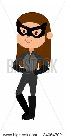 Super hero little girl in mask, coat, with shield and cute super hero brave girl mask vector. Illustration of superhero girl in mask cartoon character vector. Young school girl super hero costume, star shield and smile