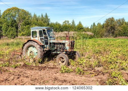 Old wheeled agricultural tractor used at the potato field
