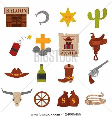 Wanted vintage western cowboys icons, western vector  signs and western cowboy american symbols. Vintage American old western designs sign and cowboy cartoon icons illustration.