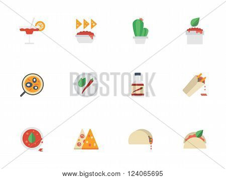 Traditional mexican cuisine. Mexican food with spicy dishes and snacks. Restaurant menu. Collection of flat style colorful vector icons. Elements for web design, website, mobile app.