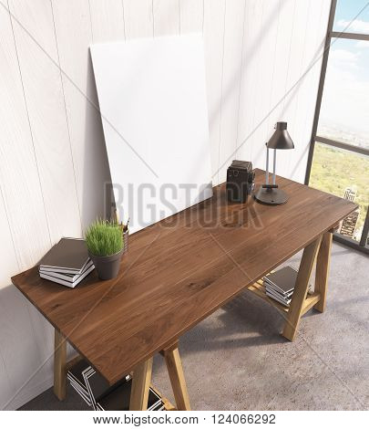 Blank frame on wooden table book on and under table lamp window to the right. Concept of decoration. Mock up. 3D rendering