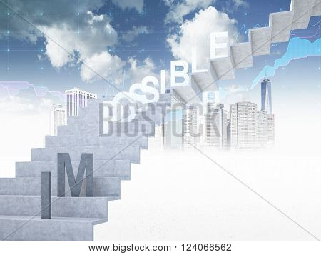 Ladder to sky 'possible' on steps 'im' down. Blue sky and New York at background. Concept of possibility. 3D rendering