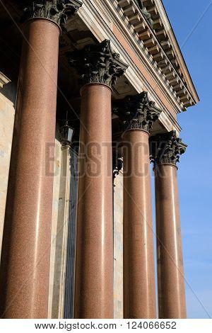 Columns of Saint Isaac's Cathedral in St.Petersburg Russia.