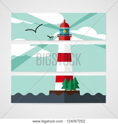 Cards with red beacon on island in flat style