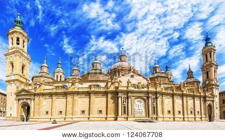 View of the basilica of the Virgen del Pilar Zaragoza Aragon Spain.