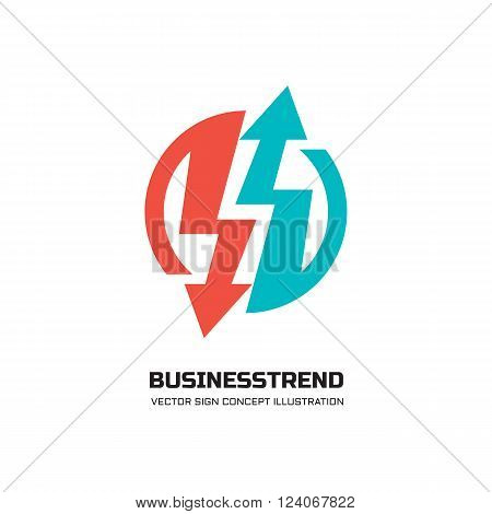 Business trend - vector logo concept illustration for business company.  Abstract arrows signs in circle. Vector logo template. Design element.