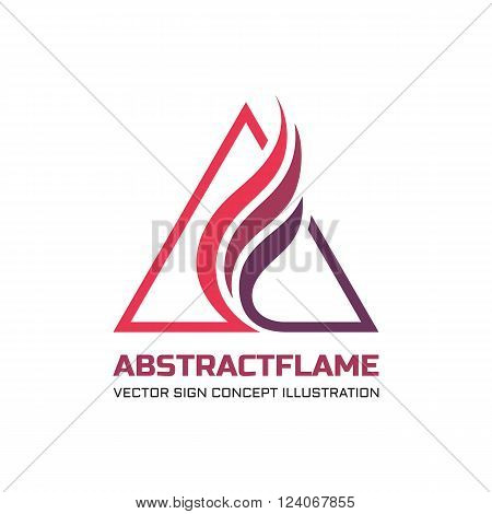 Abstract flame vector logo concept illustration for business company. Abstract fire flame in triangles shape. Tirangle sign. Vector logo template. Design element.