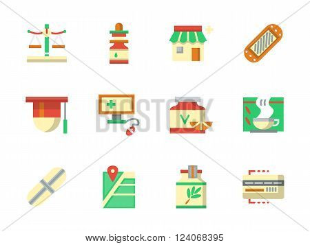 Pharmacy and chemist shop. Drugstore buttons - items, pills, herbal tea, online receipt and city navigation. Collection of flat colorful vector icons. Elements for web design, website, mobile app.