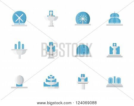 City architecture elements. Park fountains with water streams and flows. Decorative fountains. Collection of flat style colorful vector icons. Elements for web design, website, mobile app.