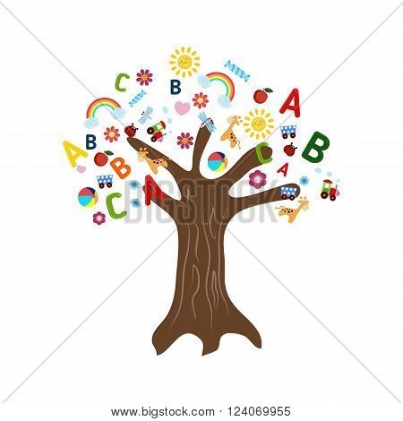 Education concept tree with children's icons. Tree on white background.