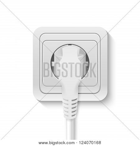 Realistic plastic power socket cable plugged isolated on white. Vector EPS10 illustration.