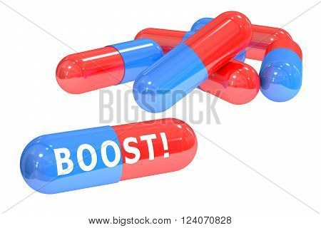 Boost! pills concept with pills 3D rendering isolated on white background