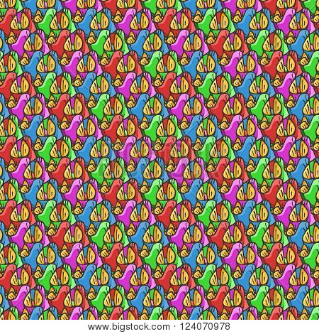 Seamless pattern of candy wrappers, tails from the wrapper look like rabbit ears. Vector element.