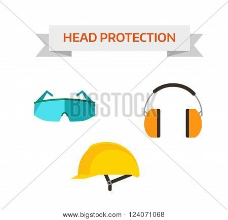 Head protection safety equipment helmet and industry head protection. Head protection build mask. Industrial protective workwear head protection includes hard hat, safety glasses, headphones vector.