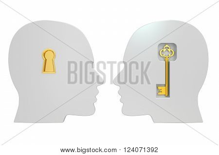 heads with key 3D rendering isolated on white background