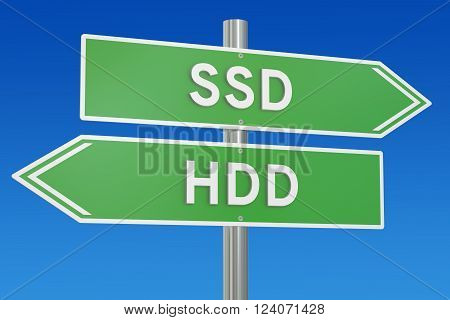 SSD vs HDD concept 3D rendering isolated on white background