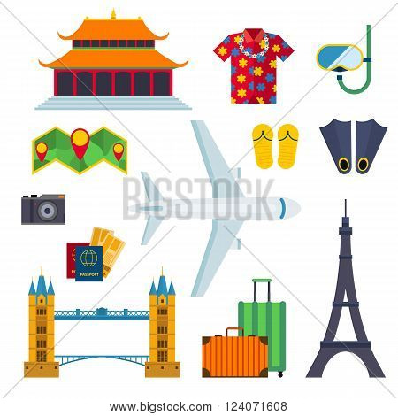 Travel cruise icons and holiday travel transport icons. Clothing and accessories for travel. Sightseeing around the world. Tourist maps routes. Airport travel icons vacation flat vector illustration.