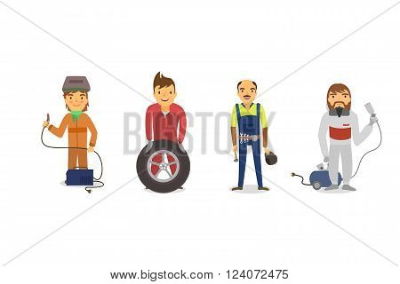 workers Car, Car painter with a spray gun, a mechanic with a car wheel , mechanic with a wrench, a welder in the mask with the welding device. Vector illustrations. EPS 10