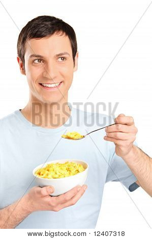 A Young Man Eating Cornflakes