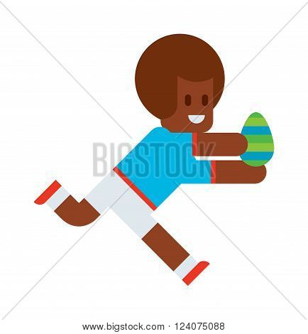Easter kids happiness costume tradition and easter kids running. Easter laughing sunny traditional funny kids with eggs. Cute little Easter kids happy child wearing colorful egg vector.