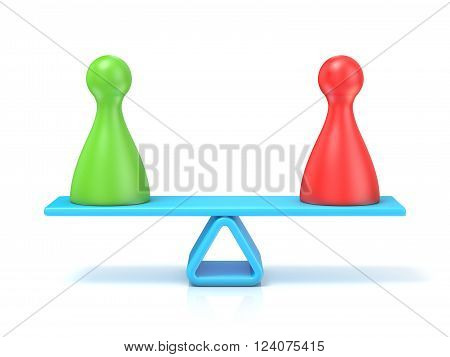 Pawns figures seesaw. 3D render illustration isolated on white background