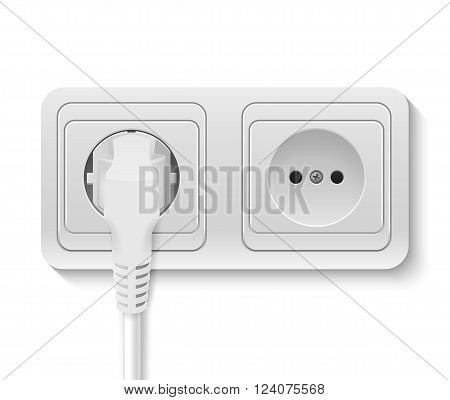 Realistic plastic power socket with cable plugged isolated on white. Vector EPS10 illustration.