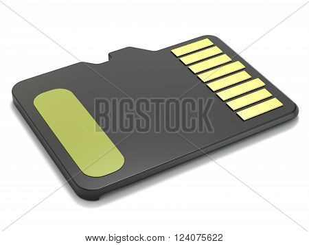 MicroSD memory card back view. 3D render illustration isolated on white background
