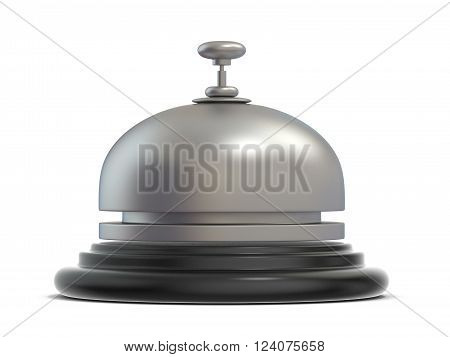 Reception bell. Side view. 3D render illustration isolated on white background
