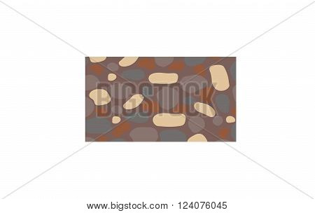 Stone wall material rough surface structure and stone wall block cement concrete. Grunge home stonewall retro mosaic. Modern house interior. Background Stone Wall architecture rock vector illustration