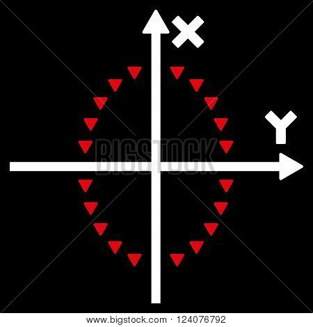 Dotted Ellipse Plot vector icon. Dotted Ellipse Plot icon symbol. Dotted Ellipse Plot icon image. Dotted Ellipse Plot icon picture. Dotted Ellipse Plot pictogram.