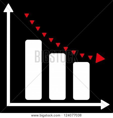 Dotted Negative Trend vector icon. Dotted Negative Trend icon symbol. Dotted Negative Trend icon image. Dotted Negative Trend icon picture. Dotted Negative Trend pictogram.