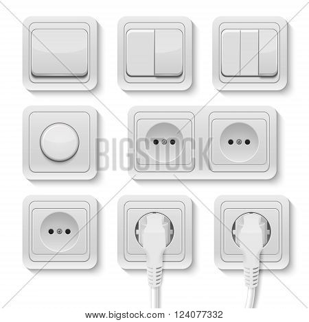 Set of realistic plastic power sockets and switches isolated on white. Vector EPS10 illustration.