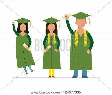 Flat modern graduation people successful graduate students education knowledge school university college graduation people infographic concept. Happy graduation people uniform throwing caps vector.
