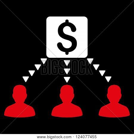 Money Recipients vector icon. Money Recipients icon symbol. Money Recipients icon image. Money Recipients icon picture. Money Recipients pictogram. Flat red and white money recipients icon.
