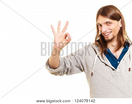 Man Showing Ok Fine Alright Gesture.