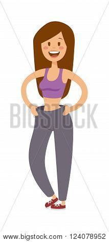 Body of young athletic fitness girl isolated on white background and happy fitness girl vector. Healthy lifestyle cartoon portrait of smiling young fitness girl in perfect shape. Fitness girl vector