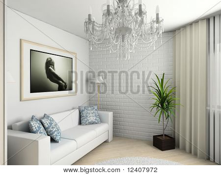 Modern home interior with the fashionable picture.
