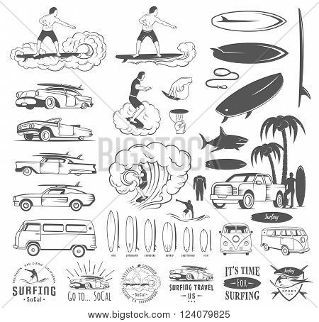 Set of vintage surfing graphics emblems and badges. Surf collection retro sign and logos. Surf elements and labels.
