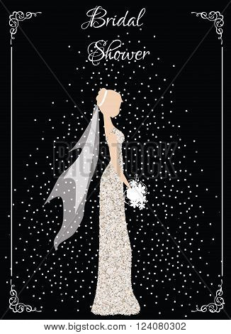 Bridal shower card. Bride in glittering dress with flowers and decorative frame. Fashion card wedding design template