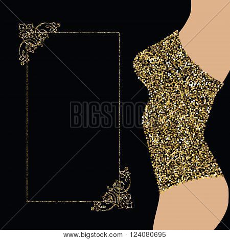 Night show party shop store invitation banner design template. Woman in gold glittering clothes and golden decorative frame for your text