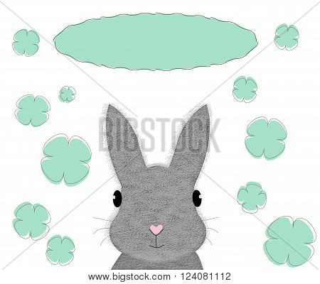 Rabbit card template. Cute little fluffy bunny clovers and place for your design