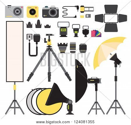 Photo icons vector collection. Photo studio flat vector equipment. Photo symbols isolated on white background. Flat style photo tools