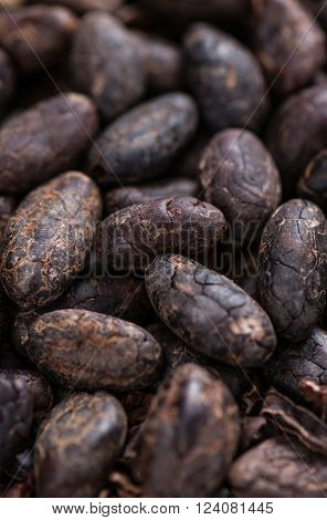 Roasted Cacao Beans (selective focus) on an old wooden table