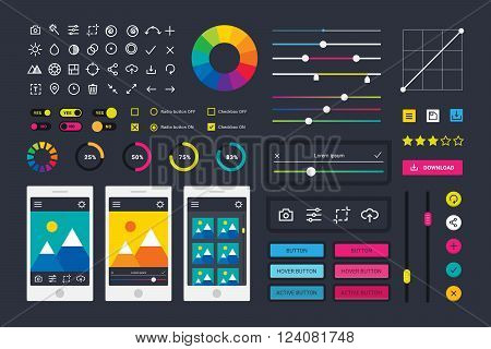 Photo editor app media icons, UI computer elements and photo editor app icons application, UI elements business technology. Photographic photo editor app icons UI elements frames camera vector.