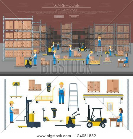 Large warehouse workers preparing goods for dispatch industry and warehouse cargo transport shipping package workers. Warehouse worker taking package in shelf logistic industry flat vector banners.